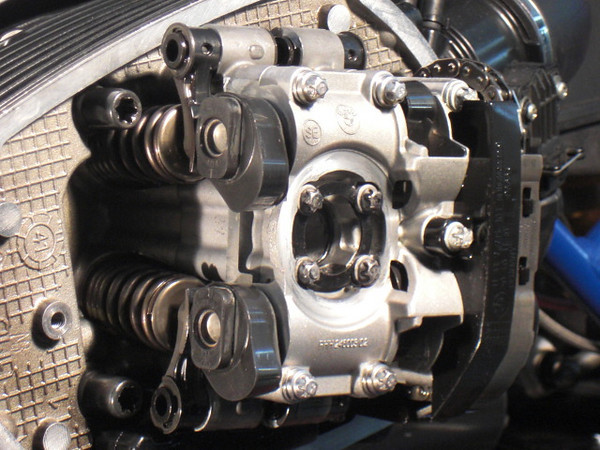 There has been some concern about valve adjustments on the new 2010 R1200 GS and RT, the job is very straight forward as show here. Head with the valve cover removed.